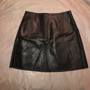 Express faux-leather snakeskin mini skirt